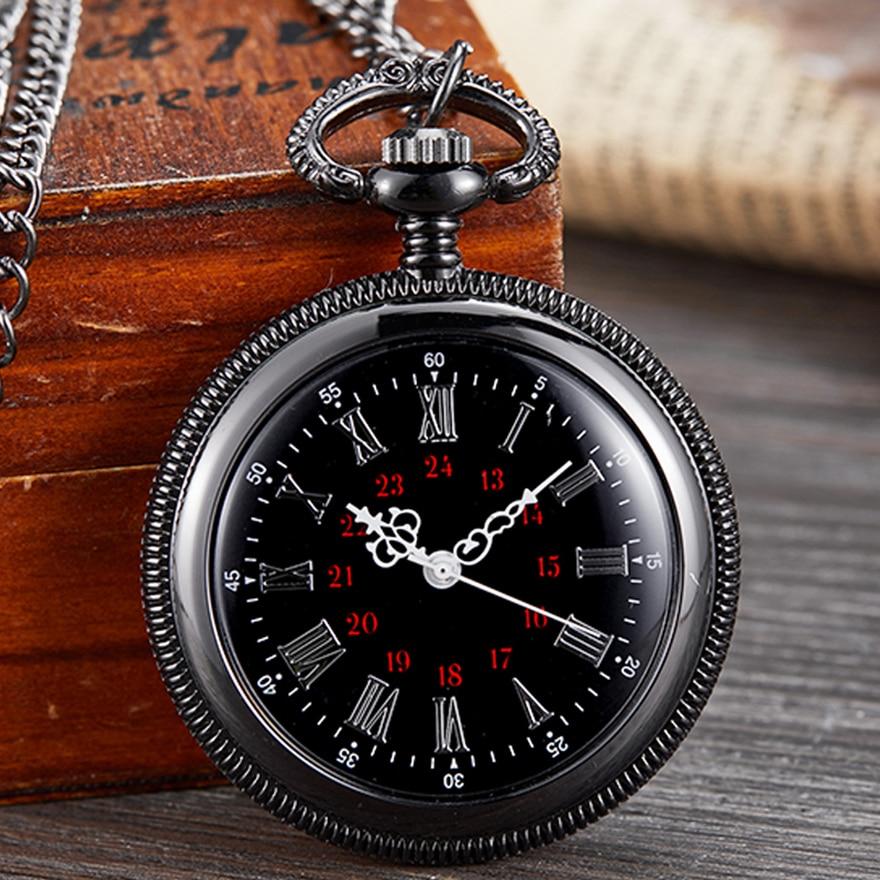 Antique Pocket Watch Quartz Fob Clock For Men Steampunk Roman Numerals Russia Popular Black Chain Clock Watches Drop-shipping