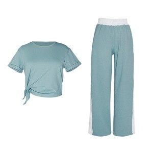 Image 5 - Damski luźny joga odzież garnitur odchudzanie ubrania do ćwiczeń sport Slim dwuczęściowy komplet garniturów sweter poliester, spandex Negroke