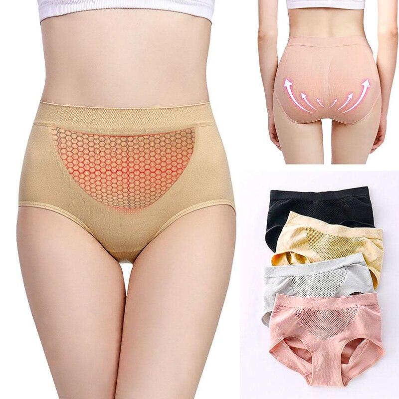 Women Warm Palace Panties Female Lingerie Soft Elastic Honeycomb Briefs Underpant Breathable Cozy Cotton Menstrual Underwear 2