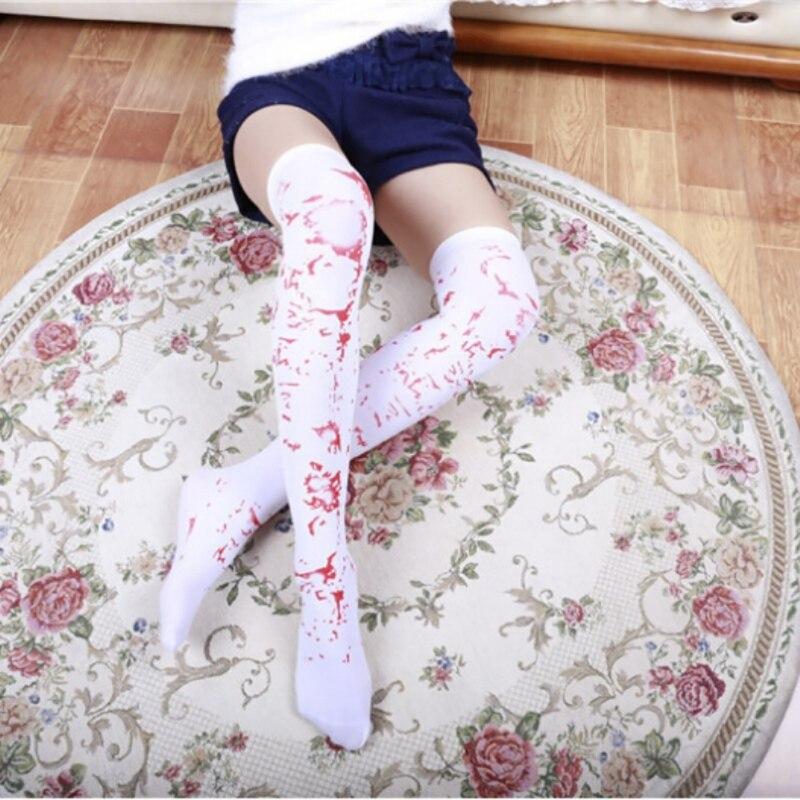 Compression Socks Women Halloween Over Knee Socks Nurse Bone Blood Socks Cosplay Striped Knee Socks Tattoo Stockings