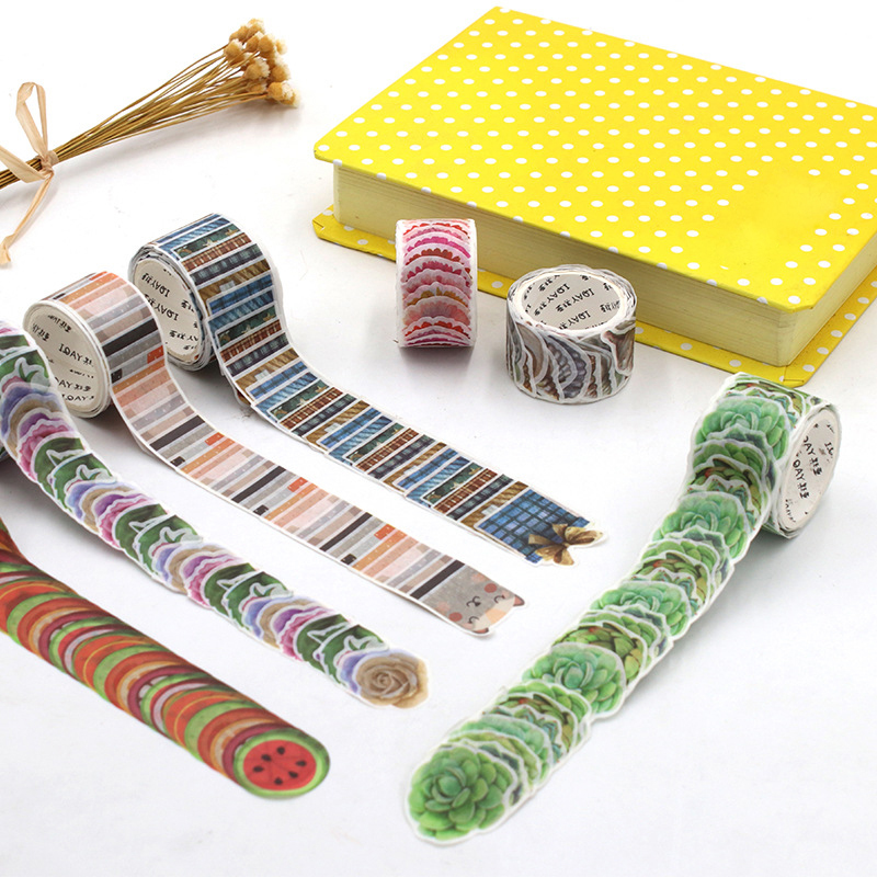 200PCS/Roll Masking Petals Tape Washi Tape DIY Scrapbook Sticker Sticky Paper Diary Flower Stickers Adhesive Tape Stationery