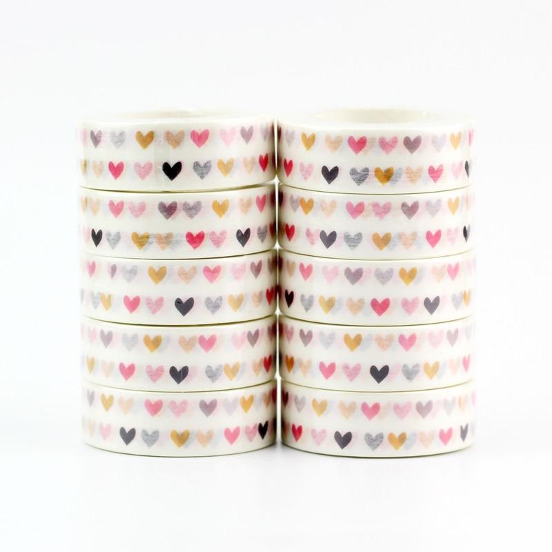NEW 10pcs/lot Decorative Cute Colorful Hearts Washi Tapes DIY Scrapbooking Planner Adhesive Masking Tapes Kawaii Stationery