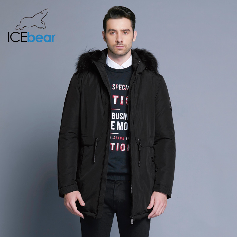ICEbear 2019 Winter Jacket Men Placket Zipper Adjustable Waistband Soft Comfortable Fur Collar Winter Cotton Clothes 17MD941D