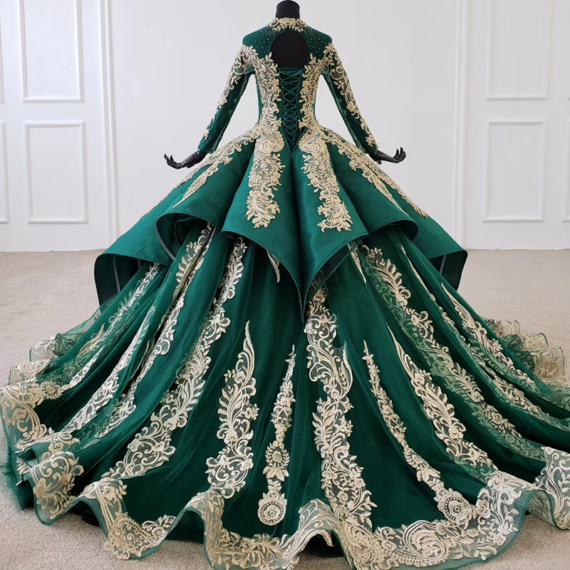 Image 3 - HTL1099 Luxury green evening dress long sleeve appliques beads ball gown lace arabic evening dress plus size vestidos elegantesEvening Dresses   -