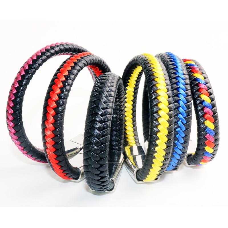 042 Men Women Braided Leather Bracelets Stainless Steel Handmade Genuine Black Red Blue Color Leather Bracelets Buddha Jewelry