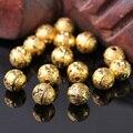 30 шт., круглые бусины с золотым покрытием, 8 мм, матовые, металлические, латунные, свободные, для самостоятельного изготовления ювелирных изд...