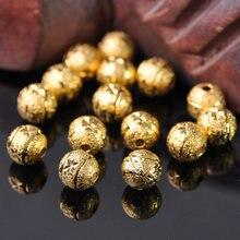 30 pçs banhado a ouro cor redonda 8mm oco fosco metal latão solto espaçador contas lote para fazer jóias diy artesanato