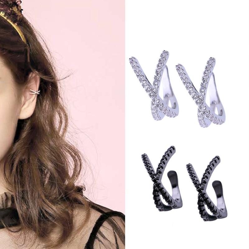 Fashion Drop Water Clip Earrings Jewelry Zirconia Crystal Jackets Jewelry Cuff Earrings For Women Boucle D'oreille Aros AE230