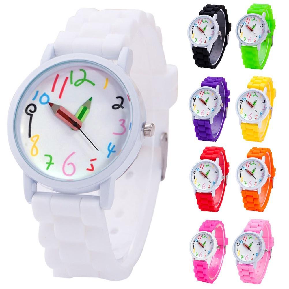 Silicone Watch Band Children Watch Cute Cartoon Pencil Kids Watches Women Sport Quartz Clock Ladies Wristwatch Girl Boy Gift