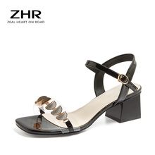 women luxury gold t strap rhinestone chunk heel sandals bling bling ankle strap crystal high heel thick heel sandals dress shoes ZHR 2020 Sexy Women Ankle Strap Sandals Shell Shape Square heel FashionBuckle Strap Women Sandals Bling Wedding Party