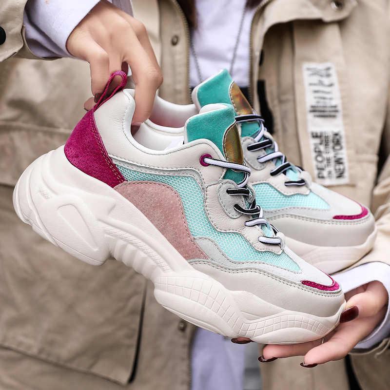 5 ซม.สีขาวรองเท้าผ้าใบของแท้ส้น Chunky รองเท้าผ้าใบสำหรับรองเท้า 2020 ฤดูใบไม้ผลิรองเท้าฤดูใบไม้ร่วงรองเท้าผ้าใบ