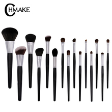 CHMAKE Pro 15pcs Makeup Brushes Set Black/Silver Cosmetic Make up Powder Foundation Eyeshadow Eyeliner Lip Brush Tool beauty