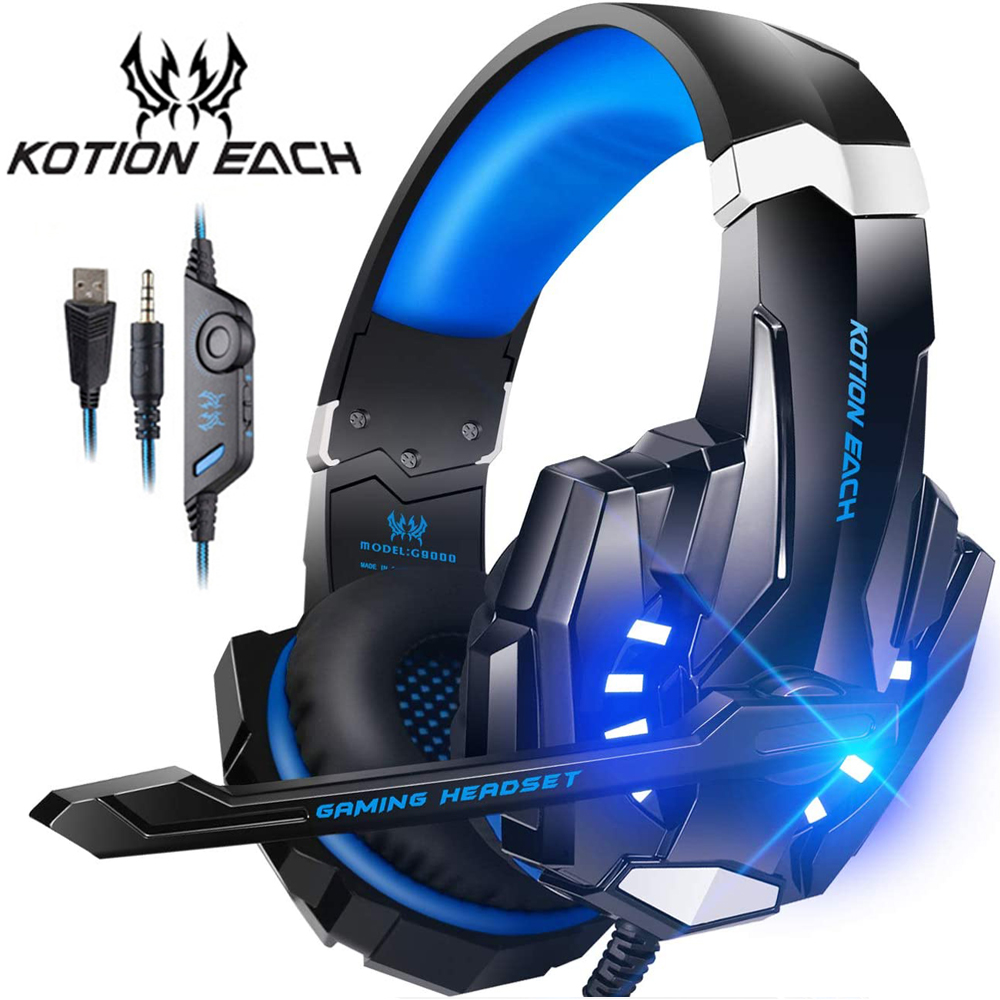 KOTION EACH Gaming Headset Casque Deep Bass Stereo Game Headphone with Microphone LED Light for PS4 Laptop PC Gamer