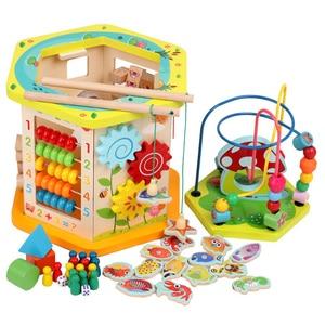 Дети Монтессори Развивающие деревянные игрушки 6 сторона интеллекта коробка Обучение головоломка математическая игрушка Детские Ранние р...