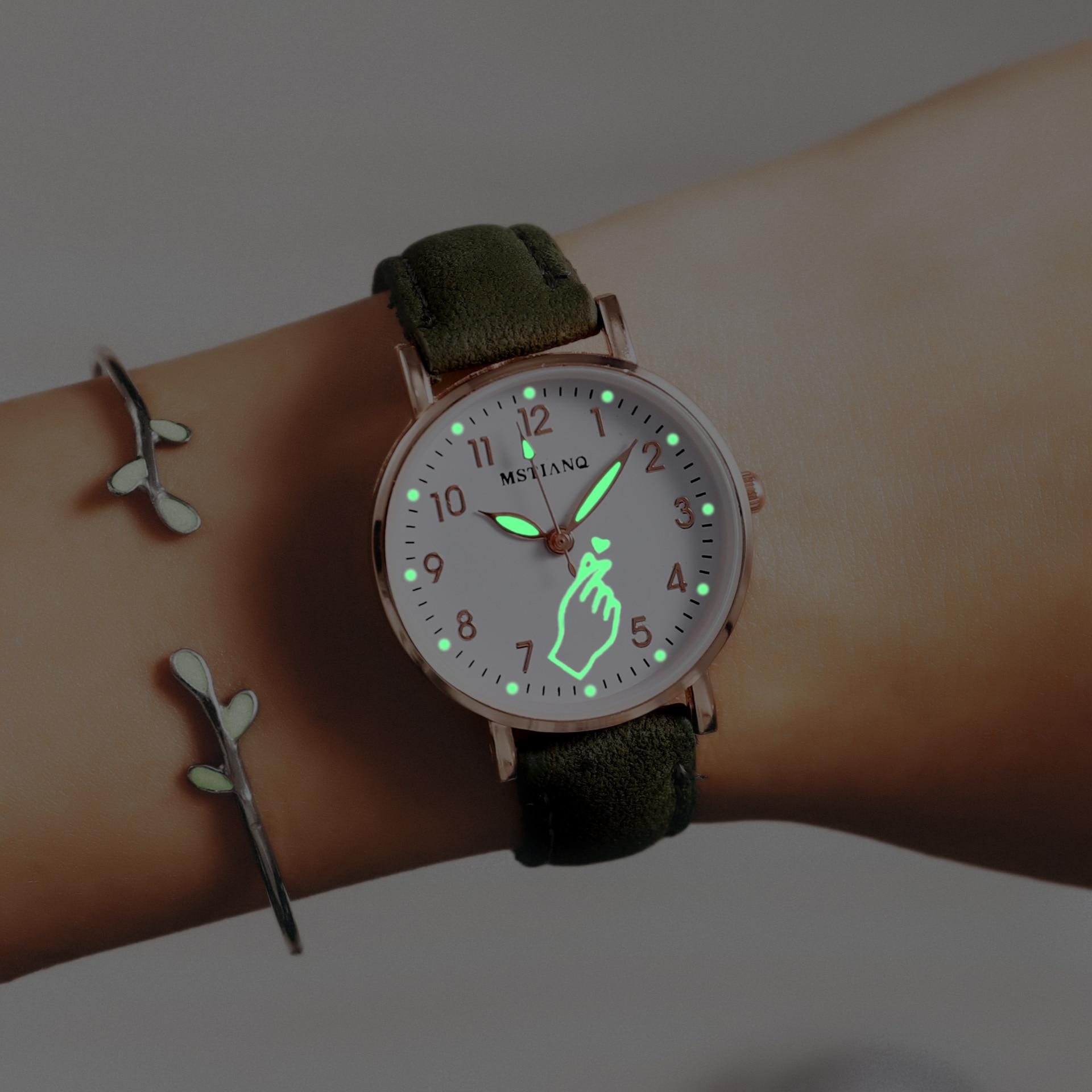 Montre lumineuse pour femmes, jolie montre en cuir, Simple, petit cadran, Quartz, horloge pour filles