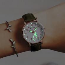 Zegarek świetlny świecące w nocy kobiety śliczne skórzane zegarki proste małe pokrętło zegarek kwarcowy na rękę dla dziewczynek tanie tanio QUARTZ NONE Klamra CN (pochodzenie) Ze stopu Nie wodoodporne Moda casual Owalne Brak Szkło Nie pakiet 16mm ZLH944 23cm