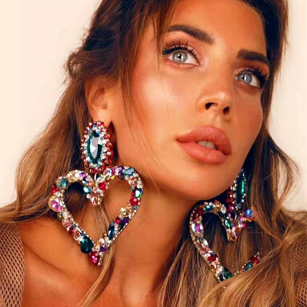 KMVEXO New Shiny Crystal Rhinestone Heart Pendant Dangle Earrings 2020 For Women Jewelry Fashion Statement Earrings Accessories