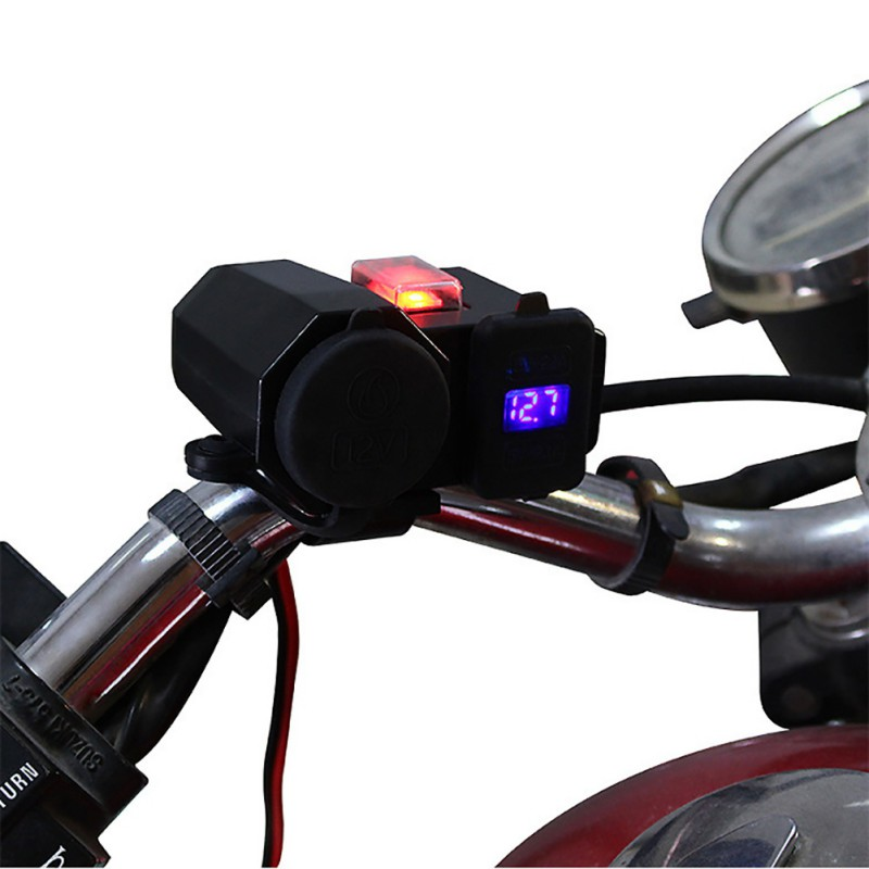 DC 12V Waterproof Motorcycle 4.2A Dual USB Charger Cigarette Lighter Splitter Power Adapter