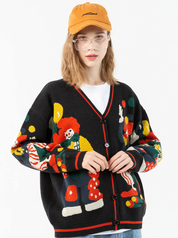 Knitted Sweater Pullover Clown-Print Streetwear Loose Funny Black Hip-Hop Cotton Women