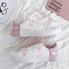 Sports-Shoes Sneakers Blossom Canvas Vintage White/pink Women's New Summer Student Flats