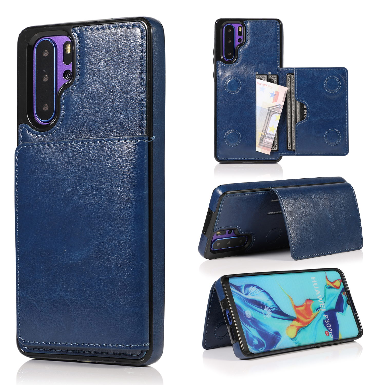 For Huawei Mate 20 P30 Lite Pro Maimang 7 Premium Card Slots Shockproof Resistant Hybrid Protective Phone Case Back Casing Cover