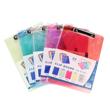 A4 A5 PP plastic folder portable pad pen tray office metting file pocket school supply colored folders cilp