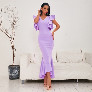 Image 2 - INDRESSME 2020 Spring New Women Sexy Mid Length Gown Backless V Neck Short Sleeve Ruffles Party Club Mermaid Dress Fashion Hot