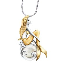 Mermaid Women Pendant Necklaces Fish Choker Goddess Of The Sea Chain Necklace Girls Party Jewelry Gifts cring coco new fashion choker necklace collar necklaces romantic cat fish fur pompom silver chain pendant for women girls gift