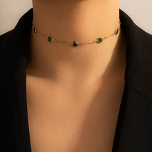 Tocona Tredny Green Rhinestone Chain Choker Necklace for Women Gold Color Alloy Metal Handmade Jewelry Accessories Collar 15633