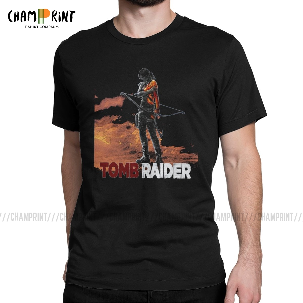 <font><b>Men</b></font> Tomb Raider Lara Croft Adventer Game <font><b>T</b></font> <font><b>Shirt</b></font> 100% Cotton Tops Funny Short Sleeve O Neck Tees <font><b>6XL</b></font> <font><b>T</b></font>-<font><b>Shirt</b></font> image