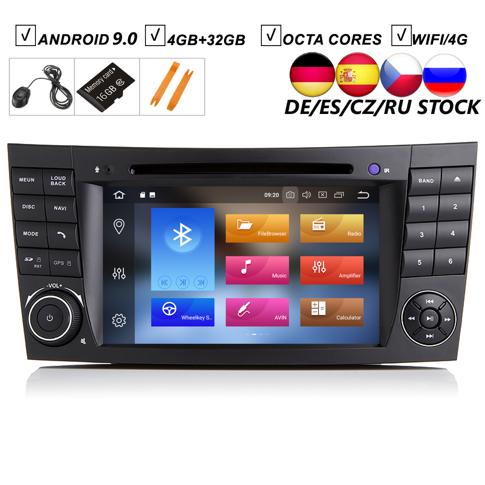 7''Car Android 10.0 Car DVD <font><b>GPS</b></font> Player For <font><b>Mercedes</b></font> Benz E-Class <font><b>W211</b></font> E200 E220 E240 E270 E280 4GB+64GB ROM Radio BT Wifi DAB+ image