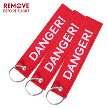 3PCS Danger Keychain Bijoux Keychains Cars Motorcycles Holder Red Key Tag ATV Car Truck Fobs OEM Embroidery Ring Gifts