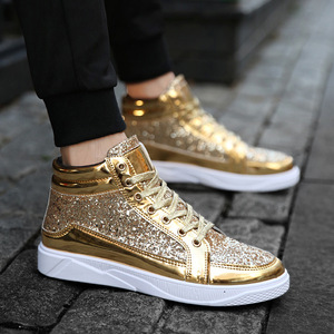 New Fashion Gold Shoes Men Casual Shoes High-top Night Club Sneaker Male Lace-up Sequins Rock Shoes zapatos hombre 2020