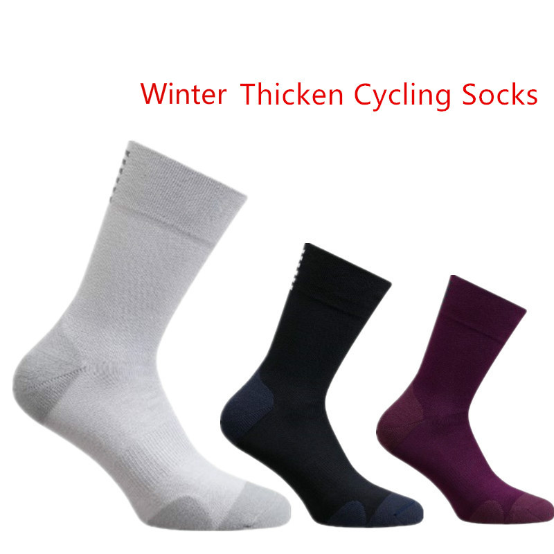 Autumn and Winter Thicken Cycling Socks Men Rapha Outdoor Sport Keep Warm Professional Competition Road Bike Socks