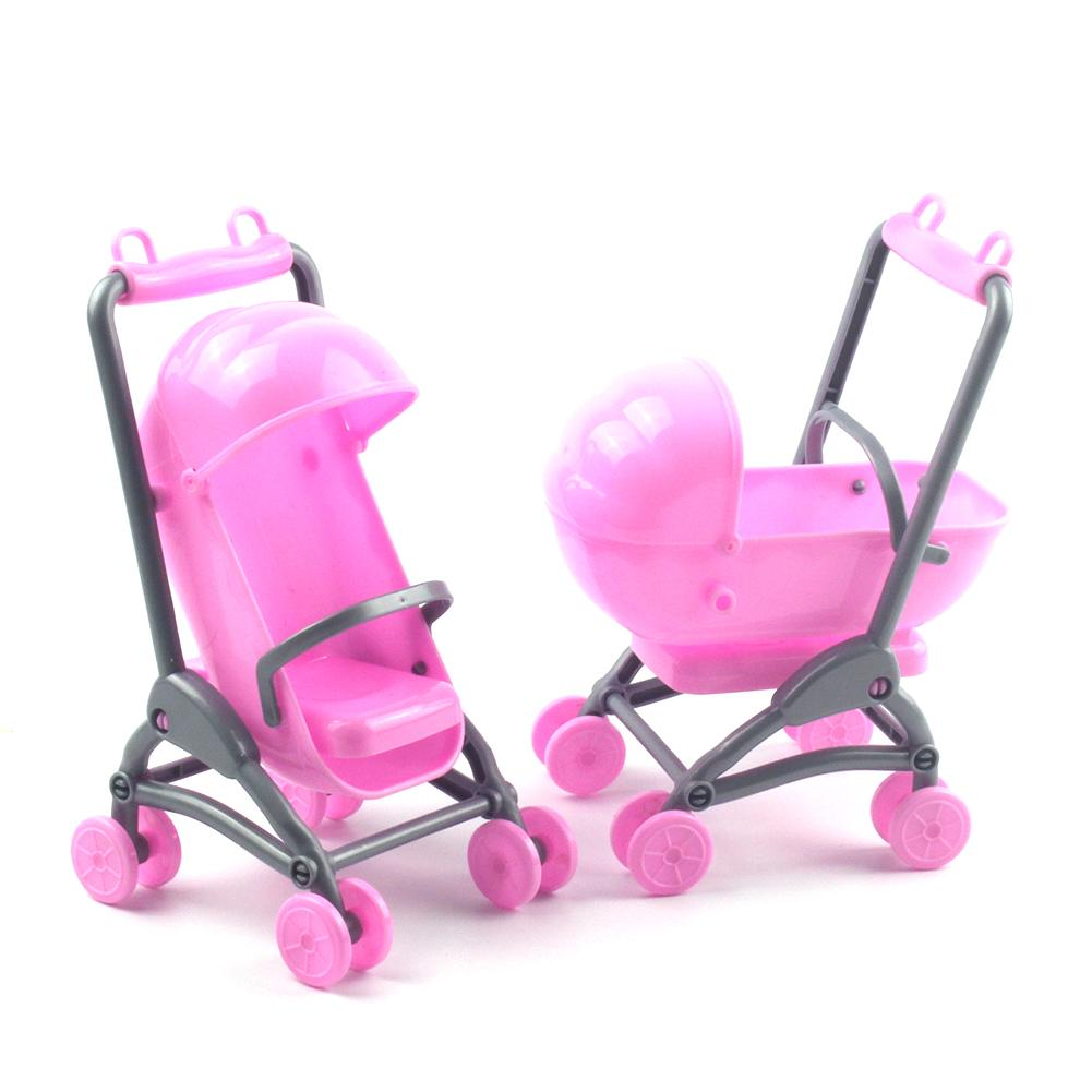 2 In 1 Baby Stroller Pram Model Kids Toy DIY Miniature Dollhouse Plastic Stroller Bike Car  Accessories  Gift For Girls