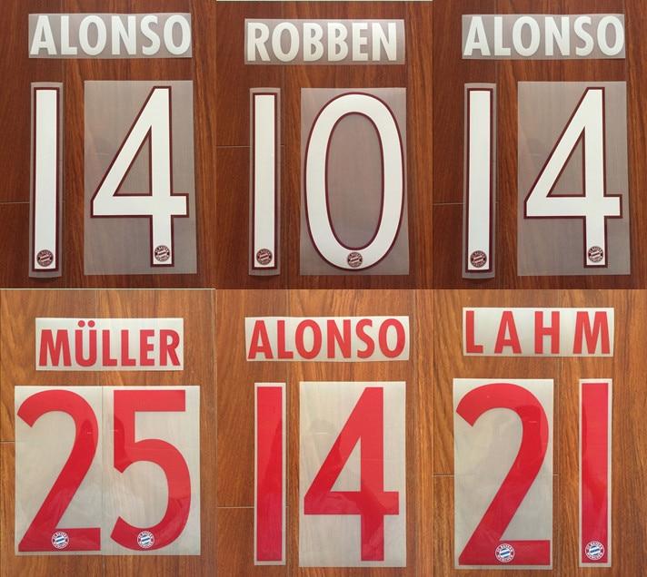 2015-16 ALONSO #14 LAHM #21 MULLER #25 ROBBER #10 Custom Nameset Football Patches Badges