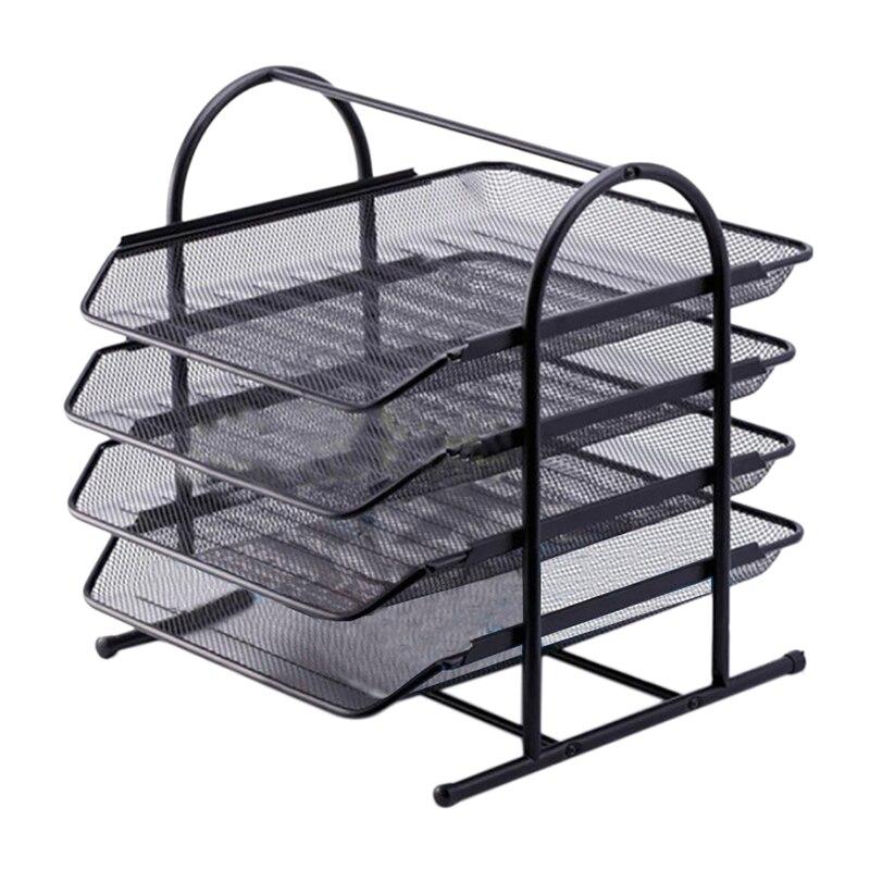 Desktop Bookshelf Office File Shelves Simple Desk Storage Shelf Folder Organizing Folders for Documents Magazines -Black