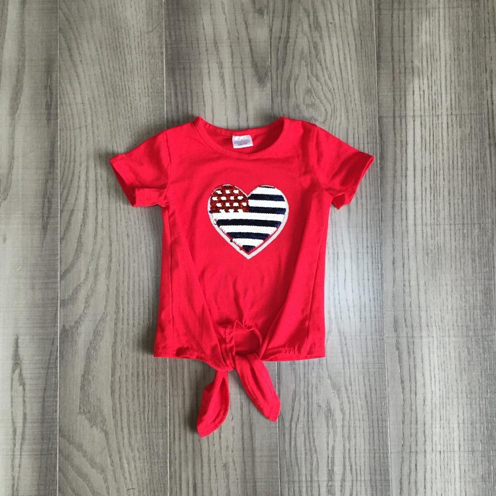 Patriotic Heart Tie Knot Top