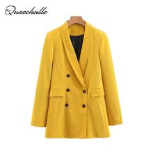 Yellow Color Suit Blazer Jacket Women Fashion Long Sleeve Co