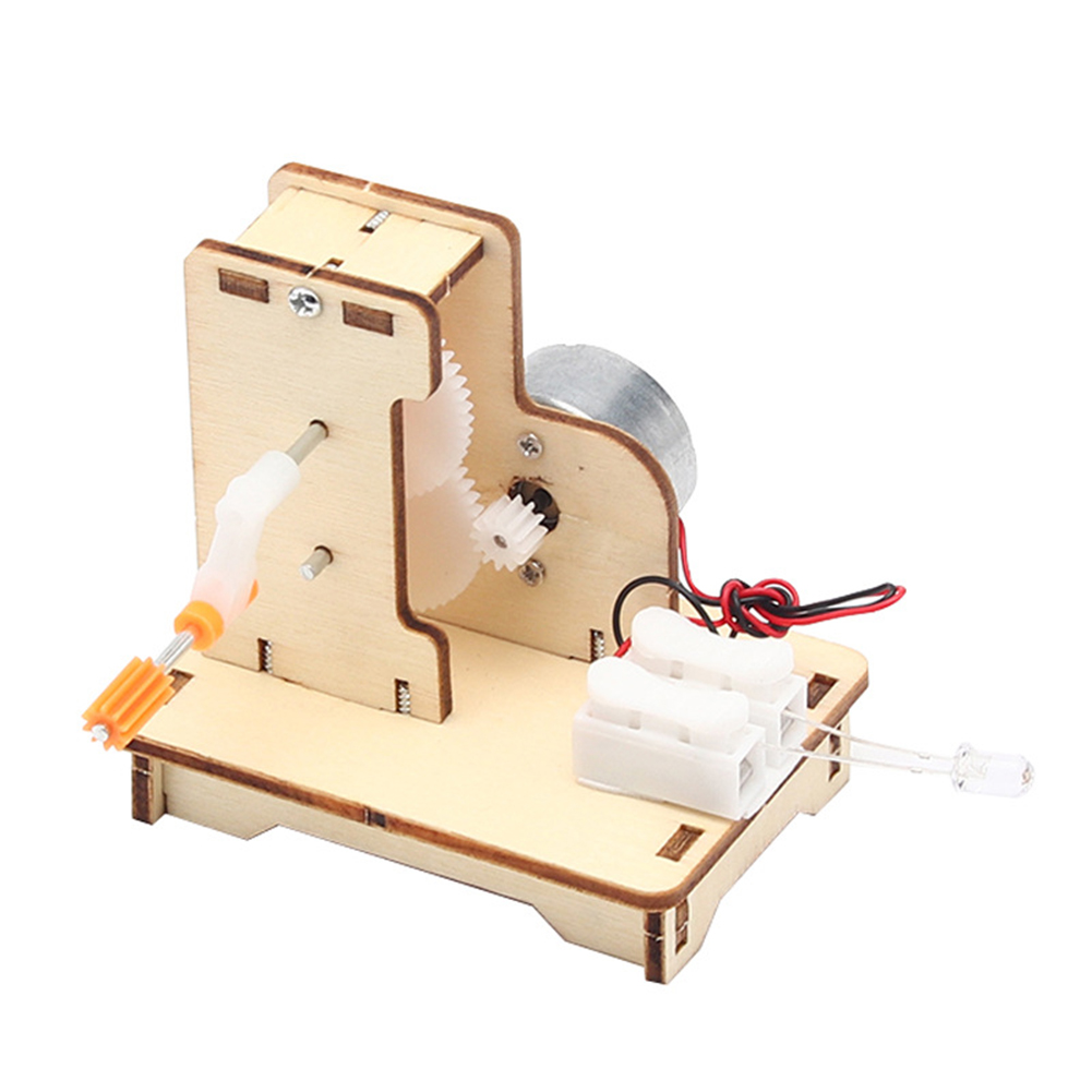 Students Kids Physical Science Toys Exercise Practical Ability Color Cognition DIY Wooden Hand Cranked Generator Technology