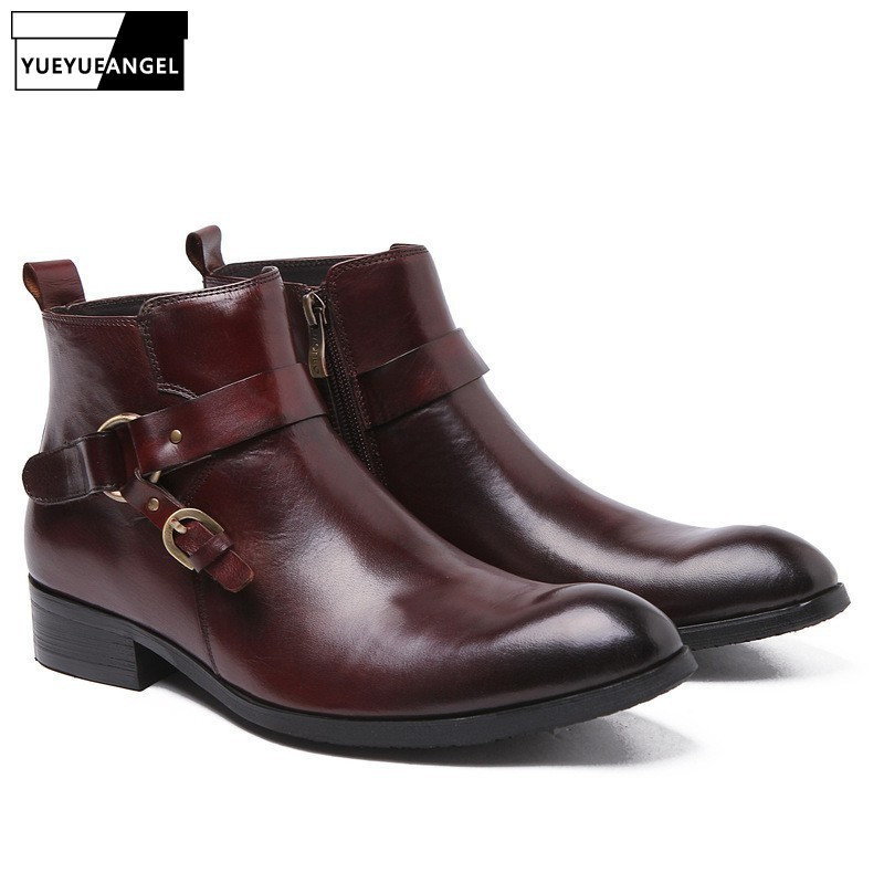 Mens Chelsea Boots With Buckle Genuine Leather Brogue Business Casual Shoes Office Wedding Dress Shoes Pointed Toe Ankle Botas