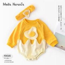 2019 가을 새 아기 옷 신생아 만화 달걀 긴 소매 로브 머리띠 유아 유아 재미 있은 의상
