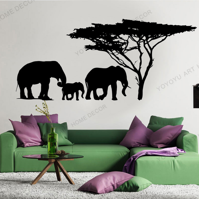Wall Vinyl Decal Elephant Family Jungle Savanna Africa Home Interior Decor For Bedroom Decoration Diy Creative Wallpaper Rb 119 Wall Stickers Aliexpress