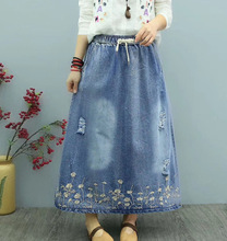 Woman Plus Size Denim Skirt 2019 Spring Summer Woman Ripped Floral Embroidered Washed Jeans Skirt Loose Casual Long Maxi Skirt plus size floral embroidered mesh skirt
