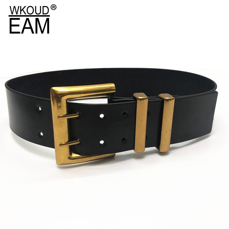WKOUD EAM 2020 New Genuine Leather Belt Female Vintage Metal Buckle Wide Leather Waistband Women Designer Brand Belt Lady PE153
