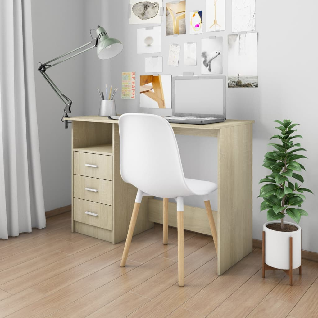 VidaXL Desk With Drawers Sonoma Oak 110x50x76 Cm Chipboard