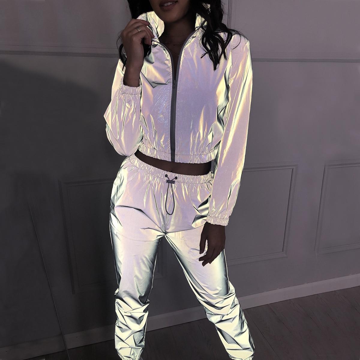 Fashion  2 Piece Women Tracksuits Set Reflective Jacket And Long Pants Ladies Loose Zipper Shine Sweatsuit Outfits Sets