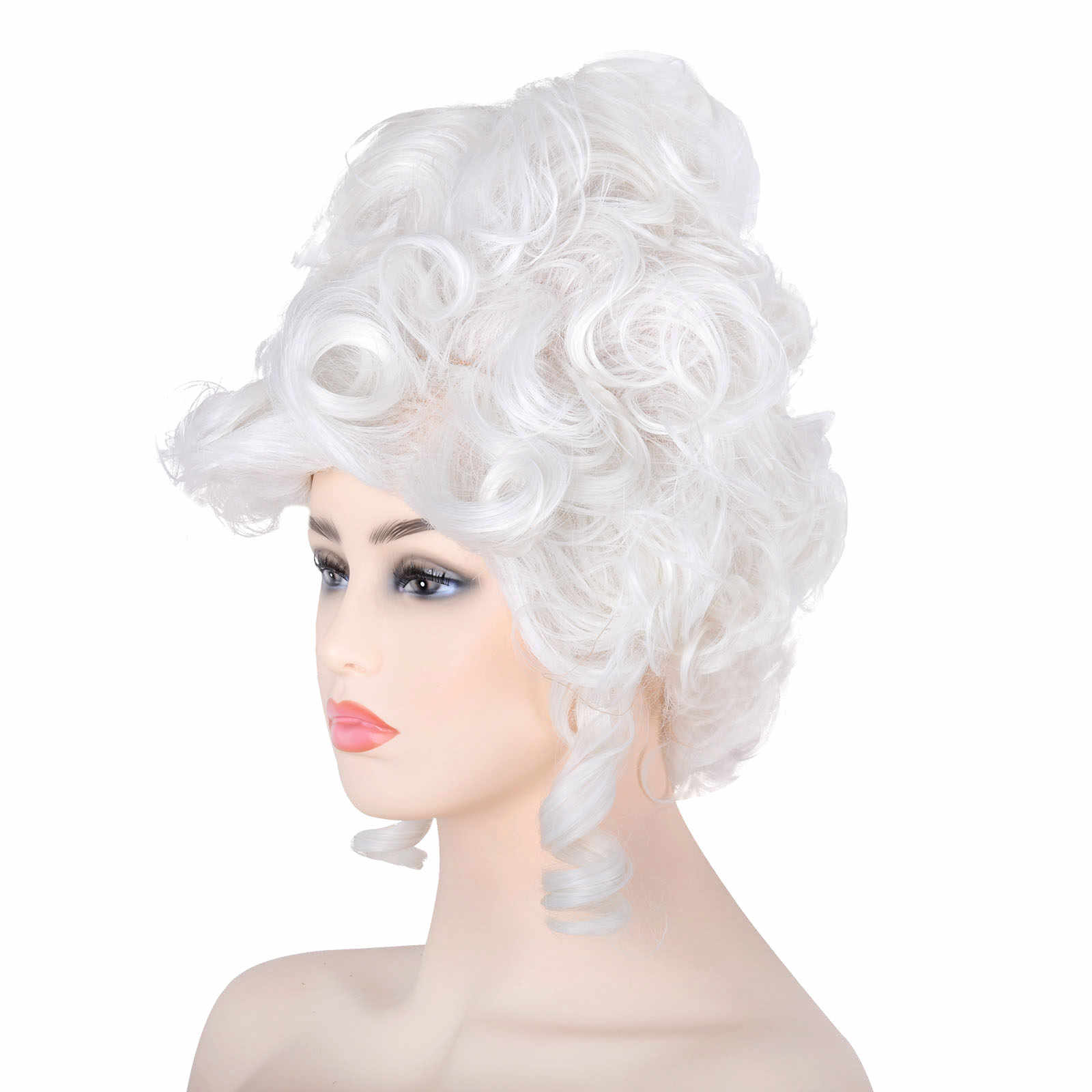 Baroque White Ringlet Curls Victorian Wig Adult Womens Fancy Dress Costume