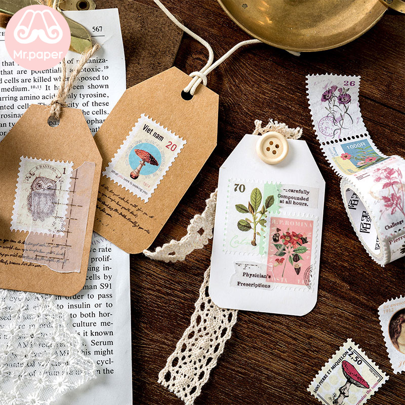 Mr Paper 8 Designs Retro Post Office Plant Bullet Journaling Stamp Tapes Scrapbooking Deco Sticker Masking Tapes Easy to Tear 5