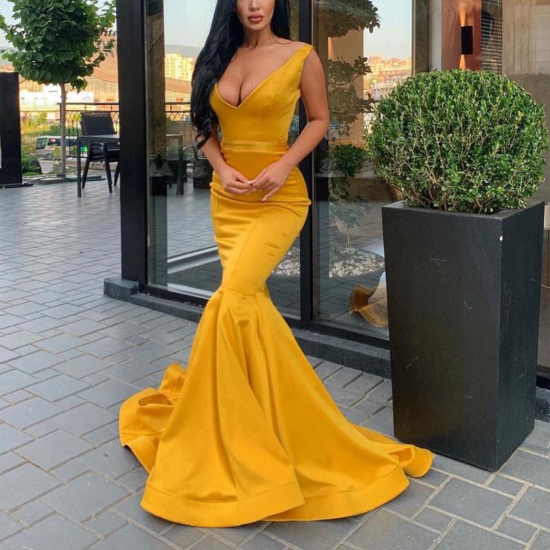 Mermaid Satin Evening Dresses Long Deep V-Neck Corset Back Simple Prom Celebrity Party Gowns Vestido De Festa Customized